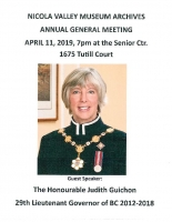 Nicola Valley Museum and Archives AGM with Guest Speaker Honourable Judith Guichon